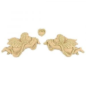 2 x Angels and Heart Wooden Moulding 16cm x 3cm