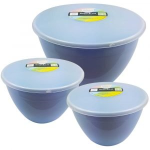 3 Blue Pudding Basins