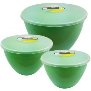 3 Green Pudding Basins