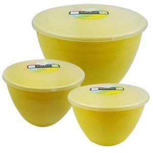 3 Yellow Pudding Basins